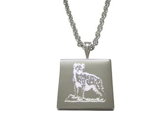 Silver Toned Etched Hyena Pendant Necklace
