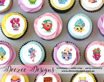 "Shopkins Mini Edible Icing Cupcake Toppers - 1.5"" - Sheet of 30 PRE-CUT"