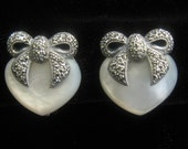 "SALE Sterling, Marcasite & Mother of Pearl Heart and Bow Earrings. Finely made Post and Spring Clip Backs. Marked ""Sterling Vintage""."