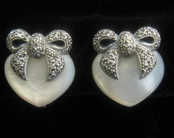 """SALE Sterling, Marcasite & Mother of Pearl Heart and Bow Earrings. Finely made Post and Spring Clip Backs. Marked """"Sterling Vintage""""."""