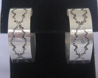 """SALE Sterling Silver Hoop Earrings. Southwestern Stamped Design. 3/8"""" Wide Band. They sit 1.25"""" Long on Ear.  925 Butterfly Backs for Posts."""