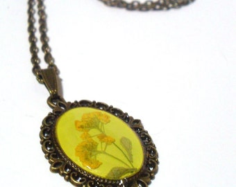 Woodland Necklace, Garden Flower Necklace,  Mustard Yellow Flower Necklace, Dried Flower Jewelry, Real Flower Jewellery, Mother's Day Gift