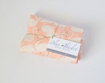 Organic Crib Sheet, Pink Swans
