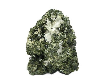 Epidote Crystal Cluster in Olive Green epidote rock matrix Geology Specimen for a crystal and mineral collection, Colorado Earth Gemstone