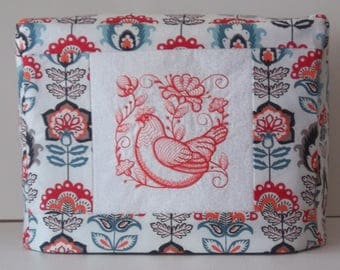 Two Slice Toaster Cover with Chicken Motif, Redwork Chicken with Jacobean floral design