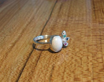 925 Sterling Silver Opal Multicolor Gemstone Ring