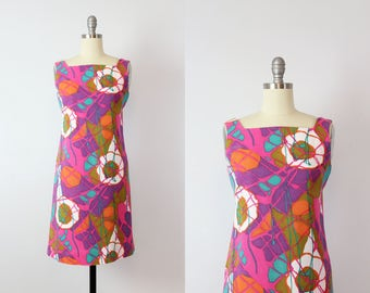 vintage 60s linen shift dress / 1960s bright graphic print dress / purple pink abstract print dress / Free Form dress