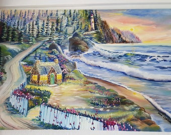Charming House on The Beach, Beach House, Original Oil by Dan Leasure, 36w,23h, Pacific Northwest Ocean Stony House, Evergreens, Warm Sunset