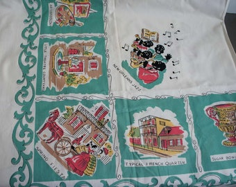 Vintage New Orleans Printed Tablecloth 1950s 1940s Printed Souveneir Tablecloth NOS Original Label Parisian Prints