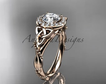 14kt rose gold diamond celtic trinity knot wedding ring, engagement ring CT7328