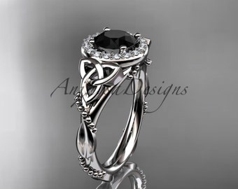 Platinum diamond celtic trinity knot wedding ring, engagement ring with a Black Diamond center stone CT7328