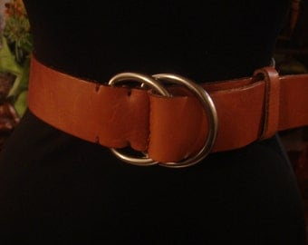 Vintage 1990s Boho Smooth Red Tan Double Round Silver Buckle Leather Belt