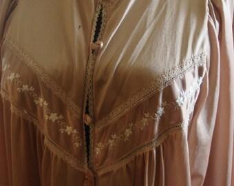 Vintage 1970s Soft Brown Nylon Robe