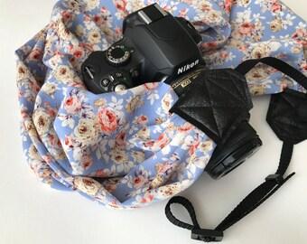 Scarf Camera Strap - dslr camera strap - camera neck strap - light blue periwinkle pink floral