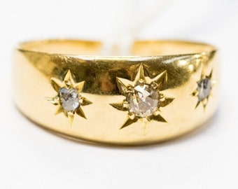 18 ct gold and diamond gypsy set ring
