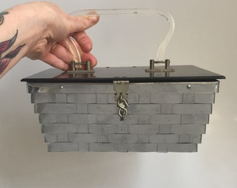 1950s Lucite and metal weave box bag