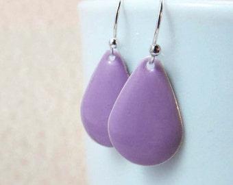 Dangle Drop Earrings - Lavender Purple Epoxy Enamel Teardrops - Sterling Silver Plated over Brass (F-5)