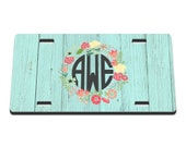 Barnwood Floral Printed Monogram License Plate / Gift Idea / Gifts for her / New Driver / Car Accessories / New Car