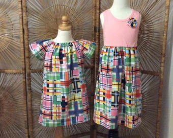 SiSTER SET for EASTER or anytime! Girls tank style dress with coordinating flutter sleeve dress- Customize for the whole family