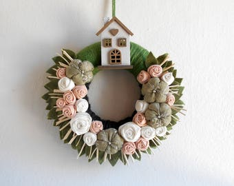 Greenery wreath welcome door decoration Floral wreath with little wooden home Home Sweet Home