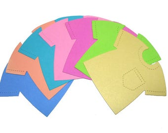 20 Shirt Die Cuts - Bright Colors - Baby Card-Making Supplies - Cute Card Stock Paper T-Shirts - Die-cuts for Papercrafting & Scrapbooking