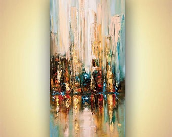 Abstract Cityscape Canvas Print - Stretched, Embellished & Ready-to-Hang  - Building No. 7 - Art by Osnat