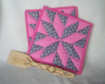 Beautiful Pink and Gray Quilted Potholders - Set of 2