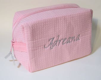 Personalized Bridal Party Makeup Bag - Bridesmaid Cosmetic Bag - Waffle Weave Spa Bag - Great Gift - Light Pink Bag with Grey Font Shown