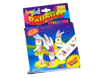 Vintage 90s LISA FRANK Bunny Ballerina Rollouts Stickers- Unused!