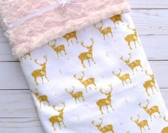 Deer Baby Blanket - Baby Blanket - Deer - Floral Deer Baby Blanket - Woodland Baby Blanket - Baby Blankets - Minky Baby Blanket - Gold Pink