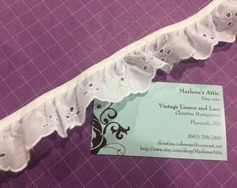 White Eyelet lace, 1 yard of 1 1/2 inch Ruffled White Eyelet lace trim for wedding, costume, bridal by MarlenesAttic - Item 3PP