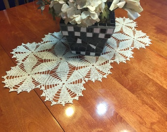 Vintage Off White crochet doily table runner for housewares, home decor, pillows, crafts, shabby chic, bags by MarlenesAttic