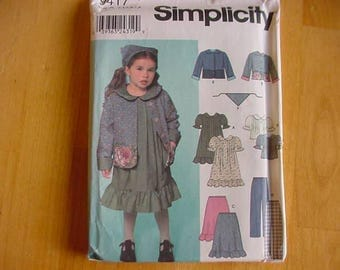 VINTAGE 2000 Simplicity Pattern 9417, Toddler Girls Dress or Top, Skirt, Pants, Jacket, Scarf, Multi-Size 3-4-5-6,7,8, Variations, Uncut