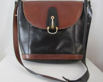 Vintage Leather Saddle Bag - Large Black Brown Shoulder Bag - Boho Style Accessory - Equestrian - Western - Long Strap - Unisex Bag