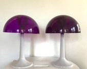 Pair of Mid Century Gilbert SoftLite Purple Mushroom Lamps