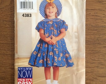 Girl's Dress Pattern, Short Sleeve Dress with Ruffle and Sun Hat, See & Sew 4383 Size 5, 6, 6X