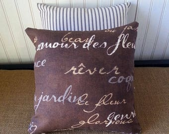 French Pillow - French Country Pillows - French Script Pillow - 12 x 12 Pillow - Brown Pillow - French Country Decor -  - Country Cottage