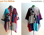 HUGE New Year Sale Upcycled Kimono Colorblock Striped Funky Bohemian Cardigan with Pockets Patchwork Recycled Clothing Size Extra Large 1x P