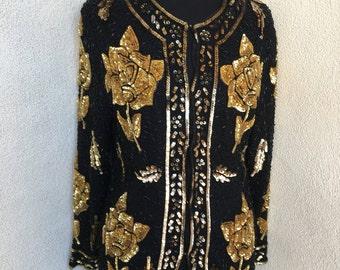 Vintage black golden sequins evening jacket by Candlelight sz S
