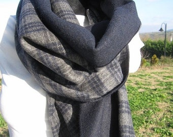 on sale Navy grey plaid blanket scarf/oversize shawl scarf-Double face cashmere Wool fabric Winter scarf -2016 FASHION men's scarves - man f