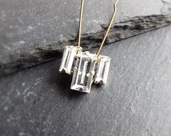 crystal hairpin, silver or gold, rhinestone wedding accessory, diamante hair pins