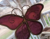 Vintage stain glass butterfly burgundy wine color hanging decor sun catcher.
