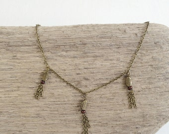 ABIDE Tassel Necklace - Arise Creations - Delicate Leaf and Tassel Necklace - Layering Necklace - Bronze Necklace - John 15:5 - Gift for Her