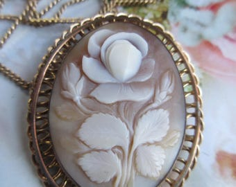 Vintage 1940s Carved Rose Cameo Necklace - Walter Lampl Jewelry