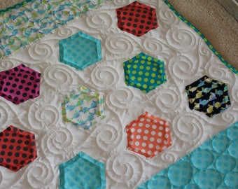 Homemade Patchwork Baby Quilt - Bunnies Minky - Baby Boy or Girl Quilt - Baby Shower - Mothers Day