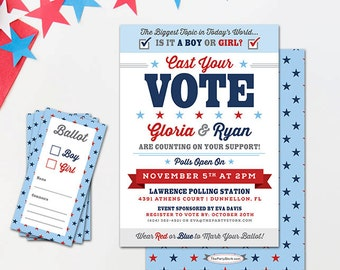 Gender Reveal Invites | Election Gender Reveal Party Invitation | Unique Cast your Vote Invites |  Red White Blue | Baby Reveal Invitations