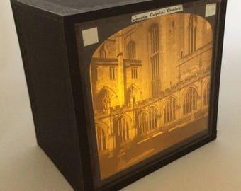 Magic lantern Slide Light Box/ Worchester Cathedral Cloisters Photo Ornament/ decoration