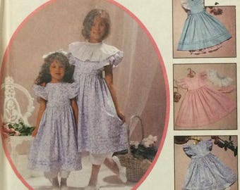 Girls Dress Pattern / Girls Dress and  Pinafore / Girls Dress and Pantaloons / UNCUT / McCalls 4375 / Kitty Benton Gourmet Sewing