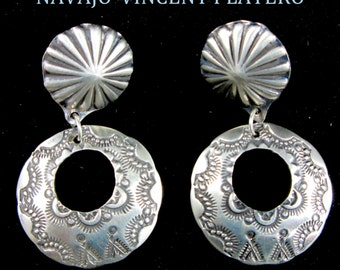 VINCENT PLATERO~Traditional Navajo~~Matte 925~ Small Hoop Earrings