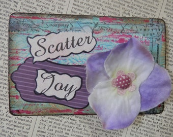 "SALE ACEO ATC one-of-a-kind Original ""Scatter Joy"" Artist Trading Card"